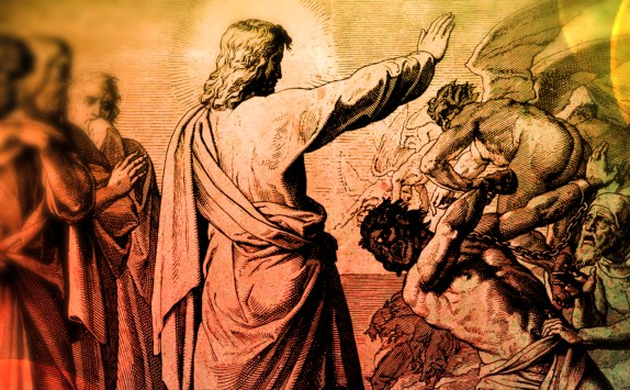 Jesus rebuking demon